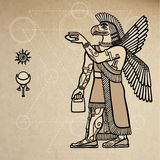 Fantastic Assyrian griffon: the person - a bird. Royalty Free Stock Image