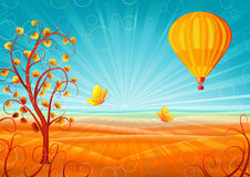 Fantastic autumn scenery. With a tree, hot air balloon and butterflies (other landscapes are in my gallery royalty free illustration