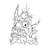 Fantastic awful creature. Fantastic fairy awful creature (vector cartoon outline graphic illustration&#x29 Stock Photo