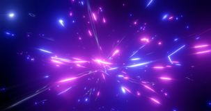 3d rendering. Fantastic background of bright glowing particles in deep space. Bright electric flashes. Fantastic background of bright glowing particles in deep vector illustration