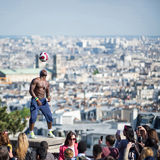 Fantastic ball performance by Iya Traore at Montmartre Hill. Royalty Free Stock Photos