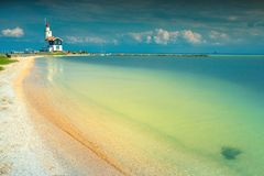 Fantastic beach and lighthouse in Marken, Netherlands, Europe Royalty Free Stock Photo
