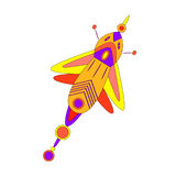 Fantastic beautiful butterfly. Fantasy bright multicolored insect on a dark blue background, fantastic beautiful butterfly, vector illustration of an insect royalty free illustration