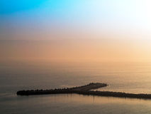 Fantastic beautiful sunset seascape with the horizon line disapp Royalty Free Stock Images