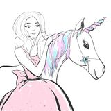Fantastic unicorn with rainbow colors mane and horn and princess girl in a pink dress. Vector cute illustration. royalty free illustration