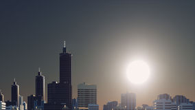 Fantastic big sun over abstract city skyline. Fantastic big sun in a dark evening or morning sky over abstract city skyline skyscrapers silhouettes at sunrise or Royalty Free Stock Photography