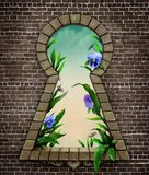 Keyhole Wonderland. Fantastic bizarre fabulous keyhole in  brick wall in  whimsical garden fairy tale Wonderland. Computer graphics Royalty Free Stock Photography