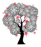 Fantastic black and white tree with red flowers Royalty Free Stock Image