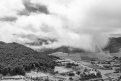 Fantastic Azores. Fantastic black and white view of clouds above the Sete Cidades caldera on the island of Sao Miguel in the Atlantic royalty free stock images