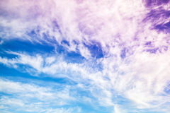 Fantastic blue and purple cloudy sky background Stock Image