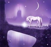 Fantastic bridge. Imaginary scene with a horse crossing a bridge Stock Photos