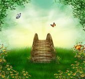 Fantastic bridge. Lovely view of a bridge and butterflies on a summer day Stock Photo