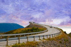 Fantastic bridge on the Atlantic road in Norway. Fantastic bridge through fjord on the Atlantic road in Norway - travel background Royalty Free Stock Image