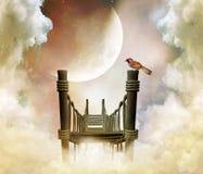 Fantastic bridge in the sky. Photomanipulation of a wonderful bridge over the clouds