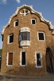 Fantastic buildings in the park Guell designed by Gaudi in Barcelona, Spain Stock Images