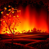 Fantastic burning hell scenery. With a tree and an ancient oriental city (other landscapes are in my gallery Stock Photo