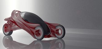 Fantastic car concept of the future electro three wheels 3D rend stock illustration