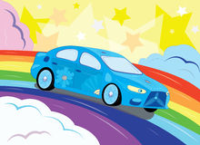 The fantastic car in the sky. Illustration. Vector Stock Photo