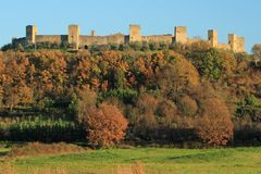 Fantastic Castle of Monteriggioni Stock Images