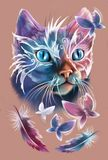 Magik Cat with four butterflies. Fantastic Cat with four butterflies and two feathers Stock Image