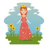 Fantastic character fairytale princess. Cartoon vector illustration graphic design Royalty Free Stock Photography