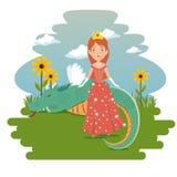 Fantastic character fairytale princess. Cartoon vector illustration graphic design Stock Images