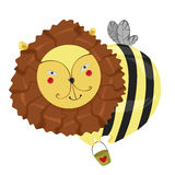 Fantastic character lion-bee Stock Photos