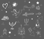 Fantastic children`s pattern, chalk on a gray board Royalty Free Stock Image