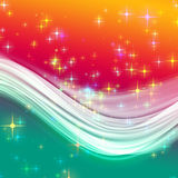 Fantastic Christmas wave design. With glowing stars Stock Photo
