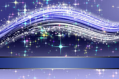 Fantastic Christmas wave design. With snowflakes and glowing stars Royalty Free Stock Image