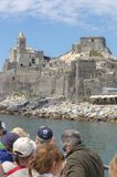 Fantastic Church of San Pietro in Portovenere view from tourist boat royalty free stock photo