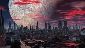 Fantastic City, A Huge Planet And The UFO Royalty Free Stock Images