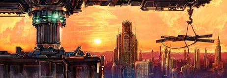 Fantastic city of the future. Raster illustration of the evening fontasticheskogo landscape Stock Images