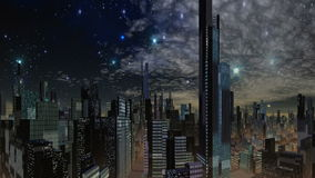 Fantastic city and UFO. Consisting of a fantastic city skyline night lights flickering. In the night starry sky quickly flies glowing object (UFO). Slowly stock video