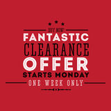Fantastic clearance offer Royalty Free Stock Photo