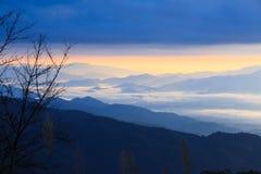 Fantastic clouds and sunrise sky. Scenery landscape of tropical. Fantastic clouds and sunrise sky. Scenery landscape of mountain and tropical forest. Doi Pha Hom stock photo