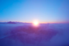 Fantastic cloudscape and sun. Royalty Free Stock Photography