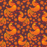 Fantastic cockerel pattern. Fiery rooster - a symbol of new 2017 on the Chinese horoscope. Seamless pattern Royalty Free Stock Photos