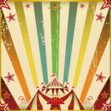 Fantastic color circus square background. A circus square invitation with multicolores sunbeams for your show Stock Photos