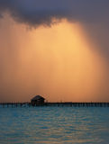 Fantastic color of sky. Before a storm on the sea stock photo