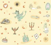 Fantastic children`s pattern with a phoenix, dragon, castle and mermaids in in warm tones Royalty Free Stock Photography