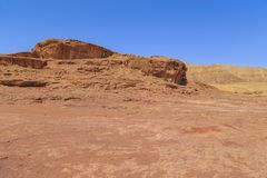 Fantastic colors of the Timna Valley in the Arava desert, Israel. This is a fragment of the Timna Valley in the south of the Arava desert in Israel Royalty Free Stock Photo