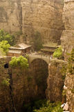 The fantastic complex of Canyanshan, Hebei, China. Cangyanshan, Hebei Province, China. the temples and the bridge over the deep canyon in the middle of the Stock Photos