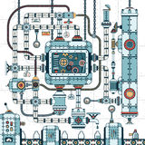 Fantastic complex steampunk machine. A fantastic complex steampunk machine made of interlocking pipes, cables, devices and accessories. Conveyor for filling stock illustration