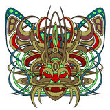 Fantastic creature deity demon animal. Patterned fantastic creature, deity, demon or an animal resembling a tiger, with a headdress in the form of a butterfly Royalty Free Stock Photos