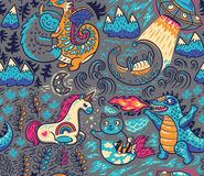 Fantastic creatures, animal pattern. Vector cute background. Kids background with fantastic animals. Yeti, Dragon, Unicorn, cat and mermaid, lochness, ufo and vector illustration