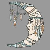 Fantastic crescent with a human face. Ethnic jewelry and beads, Indian motives. Stock Photography