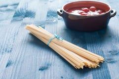 Fantastic and delicious Italian pasta fettuccine type similar t Royalty Free Stock Photo