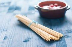 Fantastic and delicious Italian pasta fettuccine type similar t Stock Image