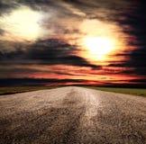 Fantastic desert road with clouds. A fantastic desert road with clouds Stock Photography